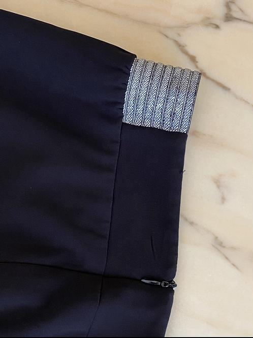 חצאית שחורה גומי כסף