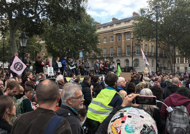 Extinction Rebellion Protest w/RAD Logos