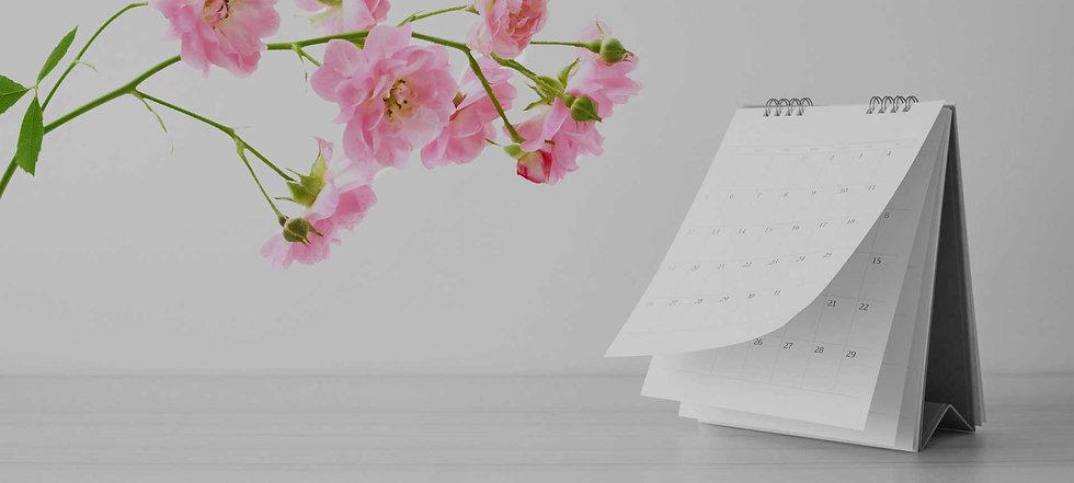 Terminkalender und Rosen