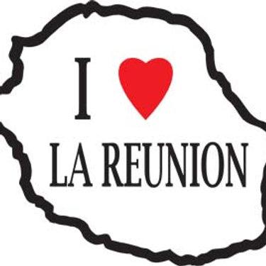 Autocollant Stickers carte love île de la Réunion 974