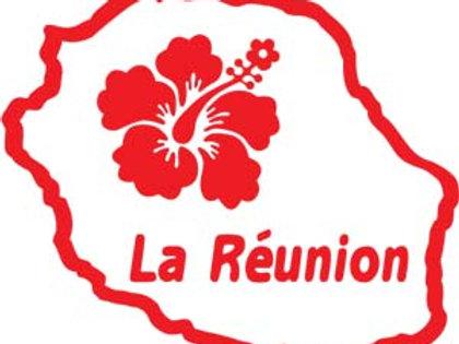 Autocollant stickers carte île de la Réunion hibiscus 974