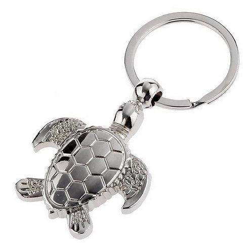 Porte clefs tortue en métal argenté,bijou de sac tortue
