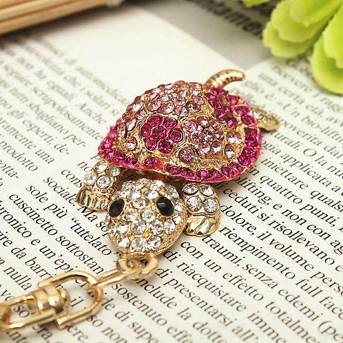Bijou de sac tortue, porte clés tortue,porte clefs strass,porte clefs rose