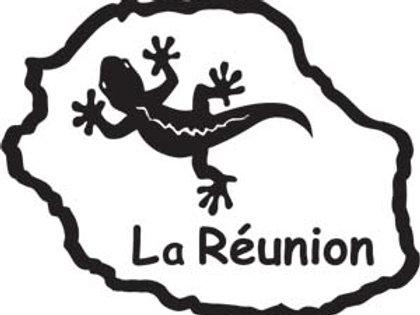 Autocollant Stickers carte île de la Réunion margouillat 974