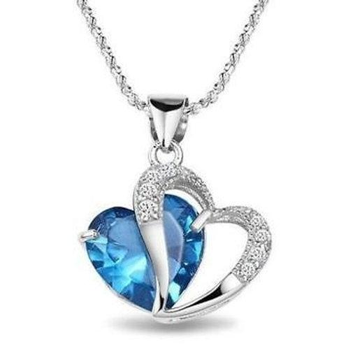 Pendentif cœur cristal et strass,collier cœur,collier amoureux,pendentif argent,