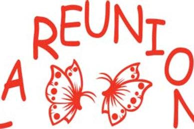 Autocollant Stickers  île de la Réunion papillon 974