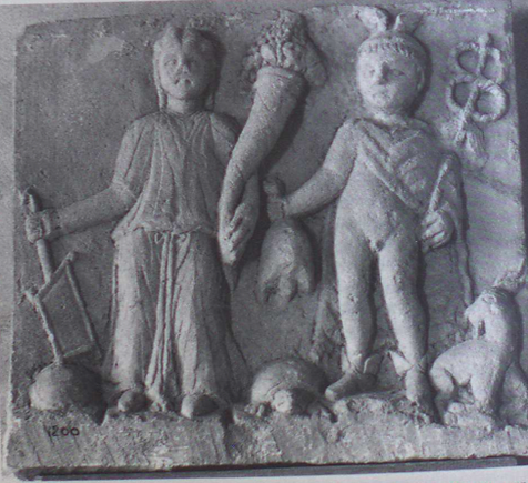 Mercury and Rosmerta relief, Rosmerta on the right holding a cornucopia and Mercury holding a purse of coins