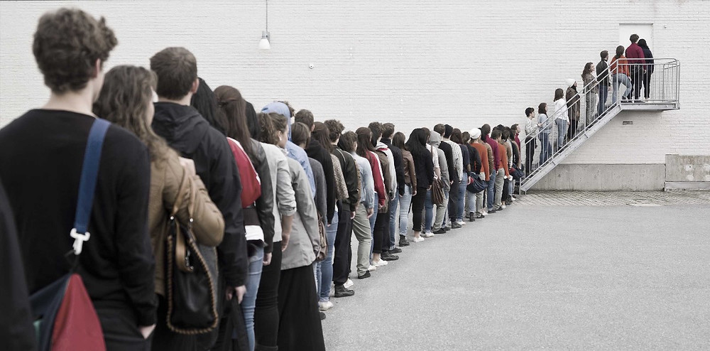 line in front of a doctor's office
