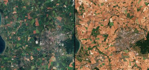 extreme drought denmark, satellite image