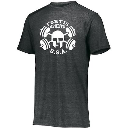 Fortis Sports USA Logo B (White) Unisex Tri-blend T-Shirt