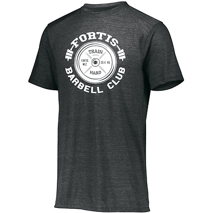 Fortis Weightlifting Barbell Club Logo C (White) Unisex Tri-blend T-Shirt