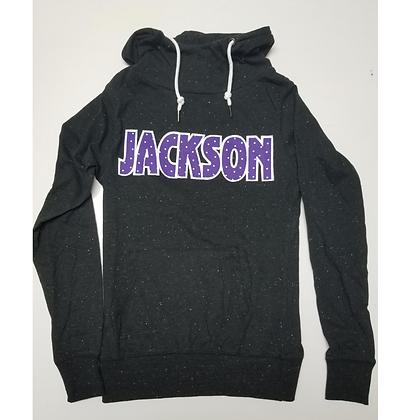 Jackson Fabric Lettering Ladies Funnel Hoodie