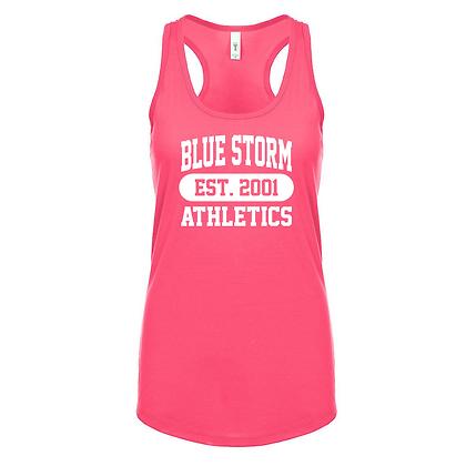 Blue Storm Athletics Est. 2001 (White) Women's Racerback Tank