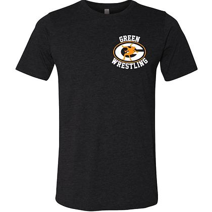 Green Bulldogs Wrestling Logo #13 Unisex Triblend T-Shirt