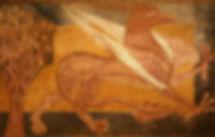 Grifo asirio. Pintura mural del Monasterio de San Pedro de Arlanza. Burgos.