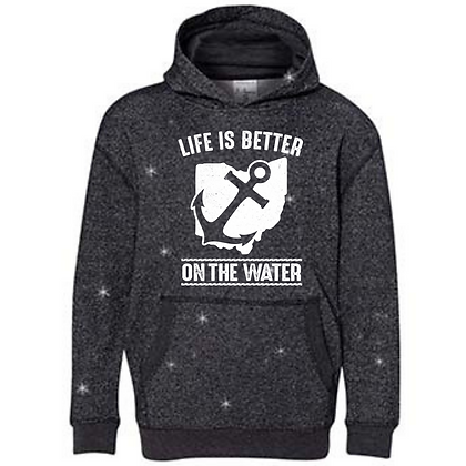 Life Is Better On The Water Youth Glitter Hoodie (Glitter Drop In)