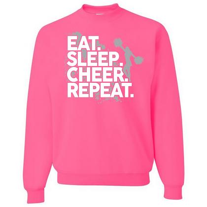 Eat. Sleep. Cheer. Repeat. Unisex Crew Neck