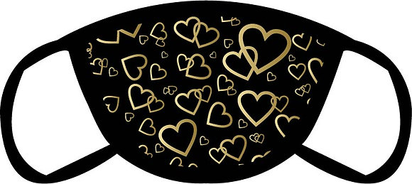 Gold Hearts Face Mask