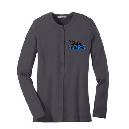 Tops Embroidered Ladies Button Cardigan