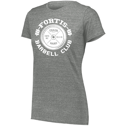 Fortis Weightlifting Barbell Club C (White Logo) Ladies Tri-blend T-Shirt