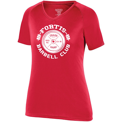 Fortis Weightlifting Barbell Club Logo C (White) Women's Compression Shirt