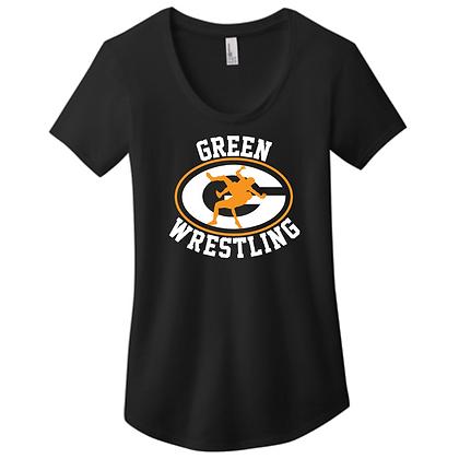 Green Bulldogs Wrestling Ladies Scoop Neck Logo H
