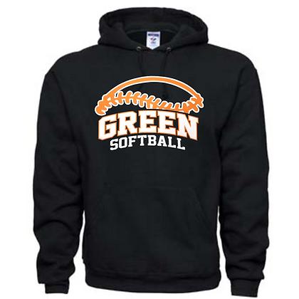 Green Bulldogs Softball Logo #50 Unisex Hoodie