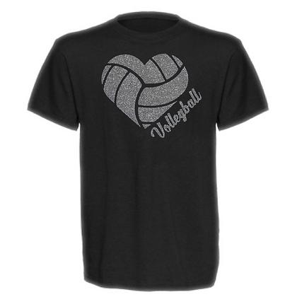 Gameday Glitter Volleyball Heart (Grey) Unisex T-Shirt