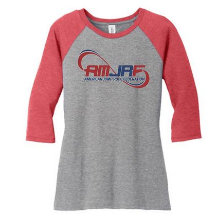 AMJRF Navy and Maroon Logo Women's 3/4 Sleeve Baseball T-Shirt