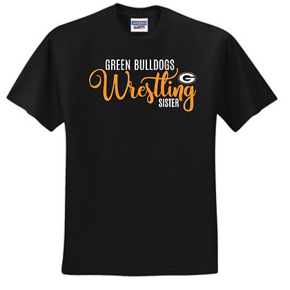 Green Bulldogs Wrestling Unisex T-Shirt Glitter Logo A (Sister)