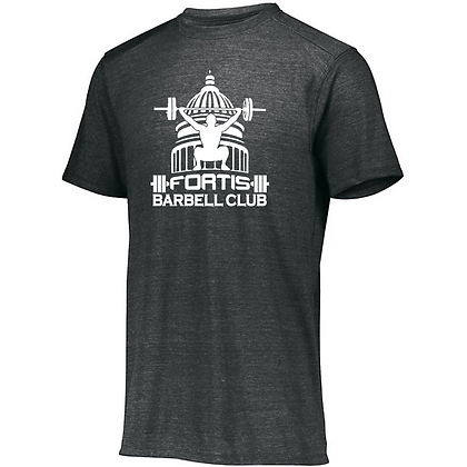 Fortis Weightlifting Barbell Club Logo (White) Unisex Tri-blend T-Shirt