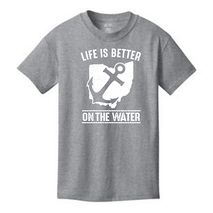 Life Is Better On The Water Youth T-Shirt (Glitter Drop In)