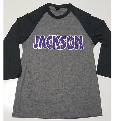 Jackson Fabric Lettering  Baseball Tee