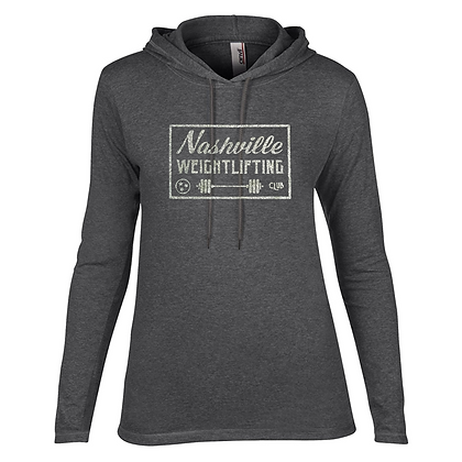 Nashville Weightlifting Barbell Glitter Design Long Sleeve T-Shirt Hoodie