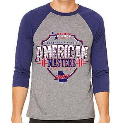 2017 American Masters Weightlifitng Event Baseball Tee