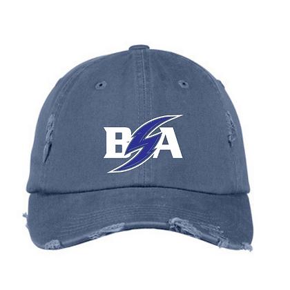 Blue Storm Athletics Logo (White & Blue) Distressed Ball Cap