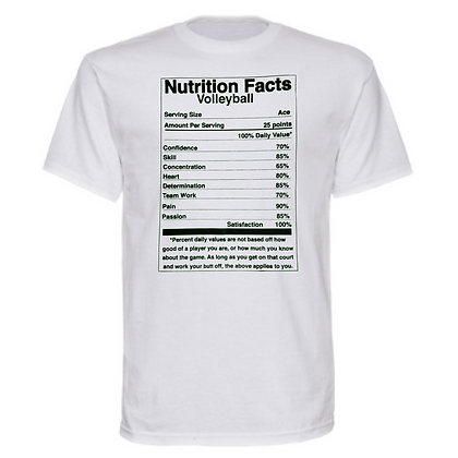 Gameday Volleyball Nutrition Facts Unisex T-Shirt