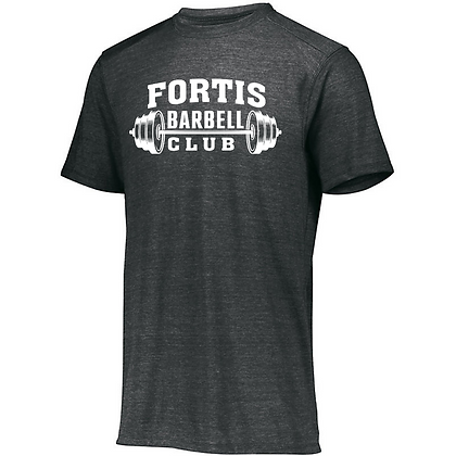 Fortis Weightlifting Barbell Club Logo D (White) Unisex Tri-blend T-Shirt