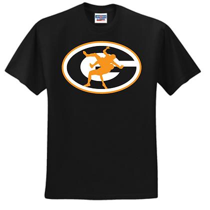 Green Bulldogs Wrestling Unisex T-Shirt Logo C