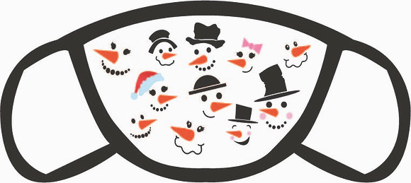 Faces of Snowmen Face Mask