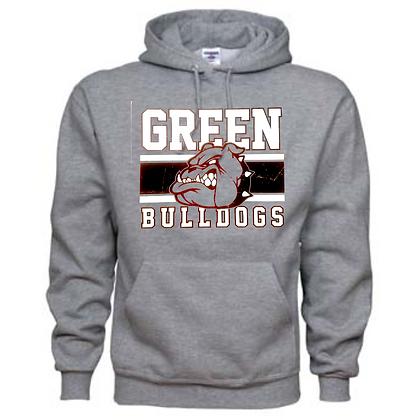 Green Bulldogs General Logo #2 Unisex Hoodie