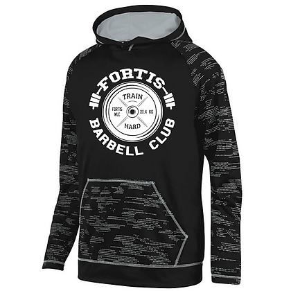 Fortis Weightlifting Barbell Logo C (White) Sleet Hoodie