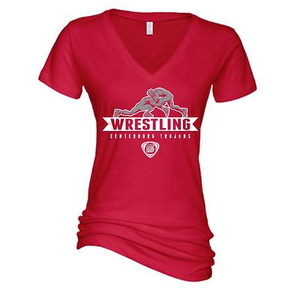 Centerbrug Trojans Wrestling Red Ladies Short Sleeve V-Neck
