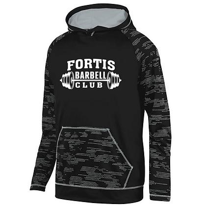 Fortis Weightlifting Barbell Logo D (White) Sleet Hoodie