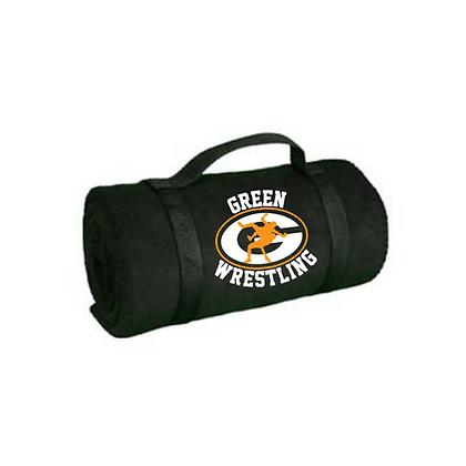 Green Bulldogs Wrestling Blanket Logo #13