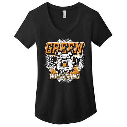 Green Bulldogs Wrestling Logo #9 Ladies Scoop Neck