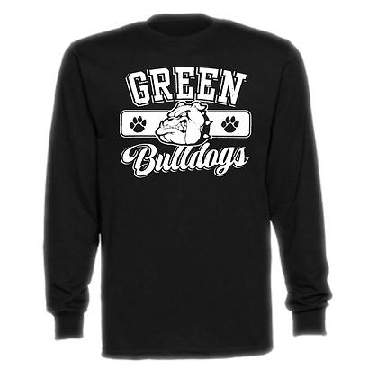 Green Bulldogs General Logo #1 Unisex Long Sleeve T-Shirt