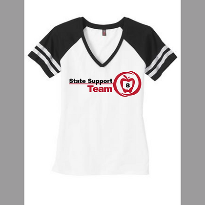 State Support Team Full Front Ladies Game V-neck Tee