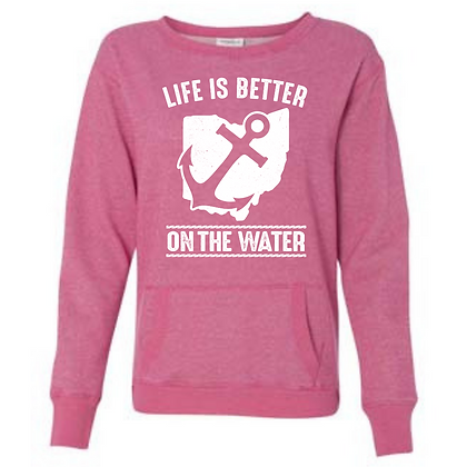 Life Is Better On The Water Ladies Glitter Pocket Crew