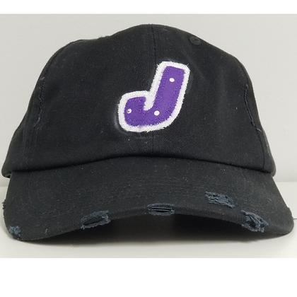 Ladies Fabric Lettering Distressed Hat